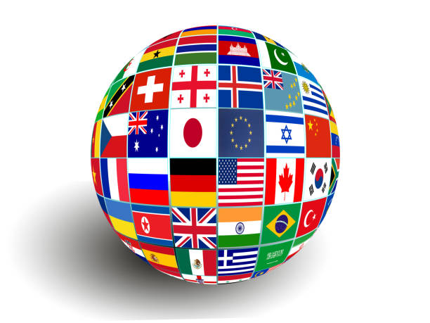 flag globe with different country flags - grecia stato foto e immagini stock
