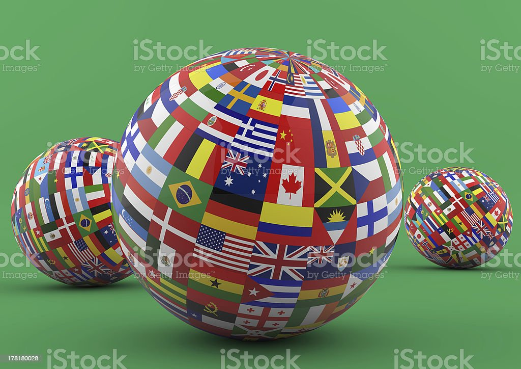 Flag Globe with different country flags royalty-free stock photo