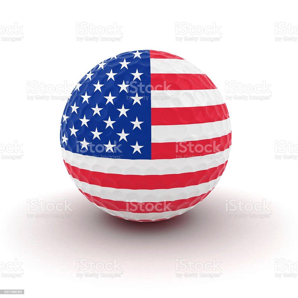 US Flag Golf Ball stock photo