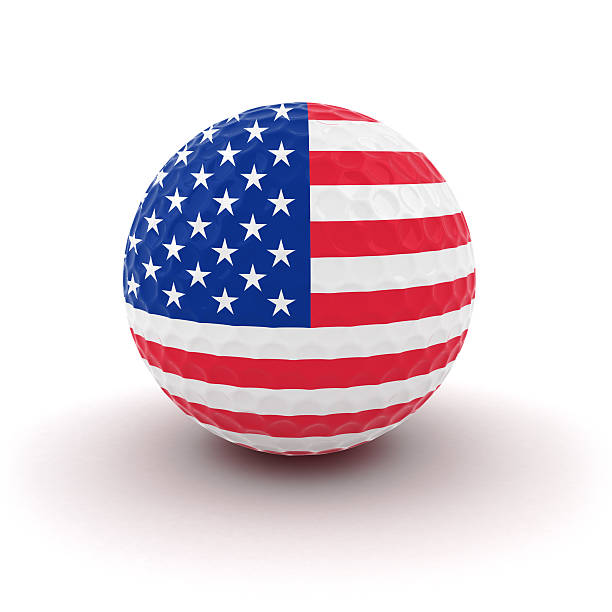 US Flag Golf Ball stock photo