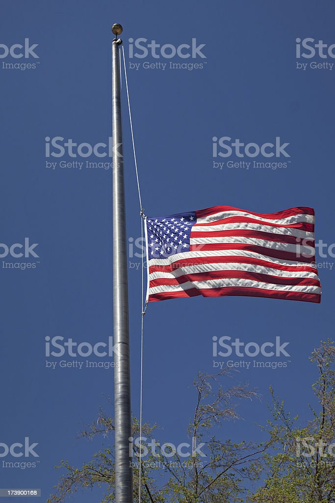 US Flag - Half mast stock photo