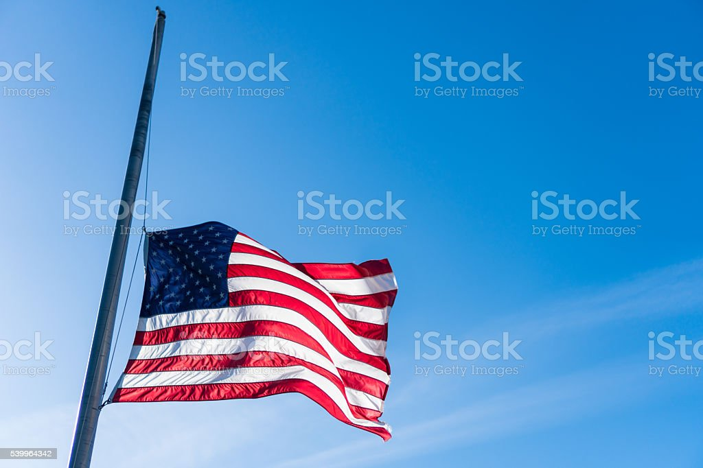 USA Flag. Half Staff stock photo