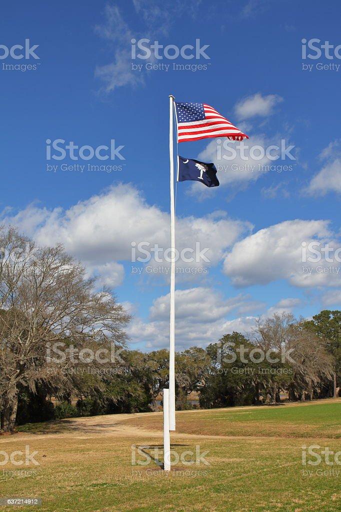Flag in Boone Hall Plantation - Charleston, SC - USA stock photo