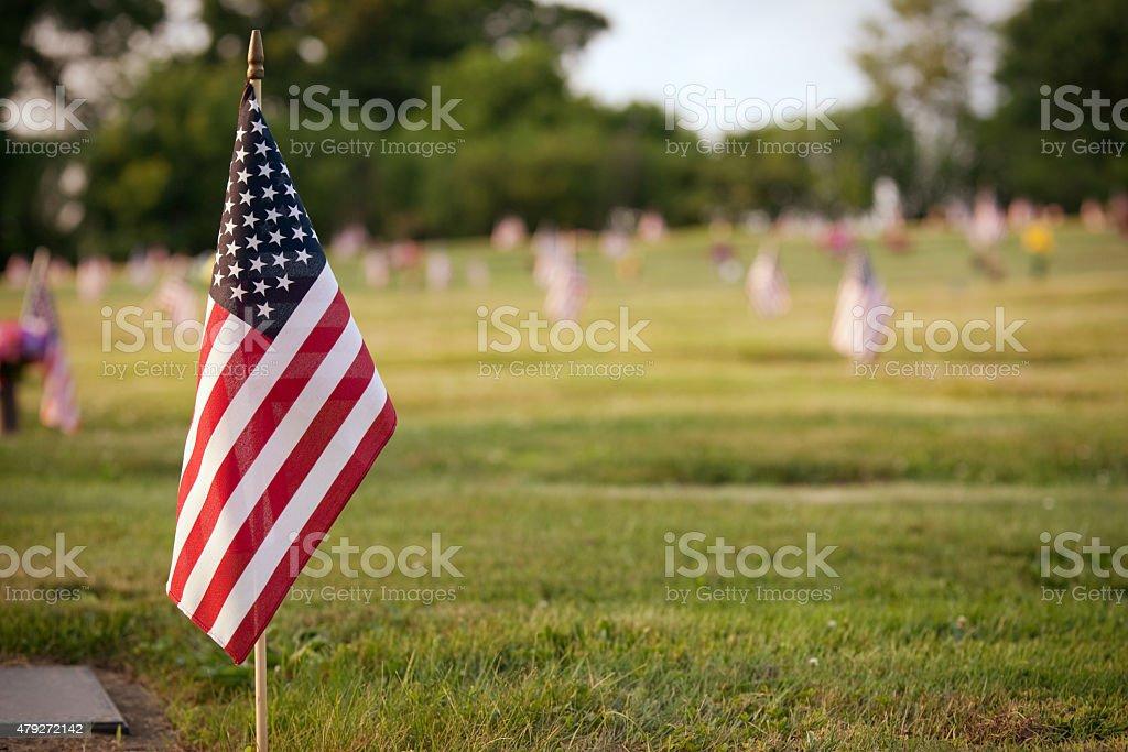 US Flag In Graveyard stock photo