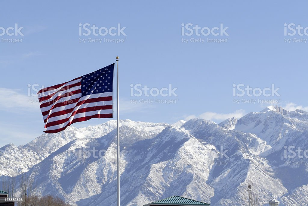 US Flag in Winter stock photo