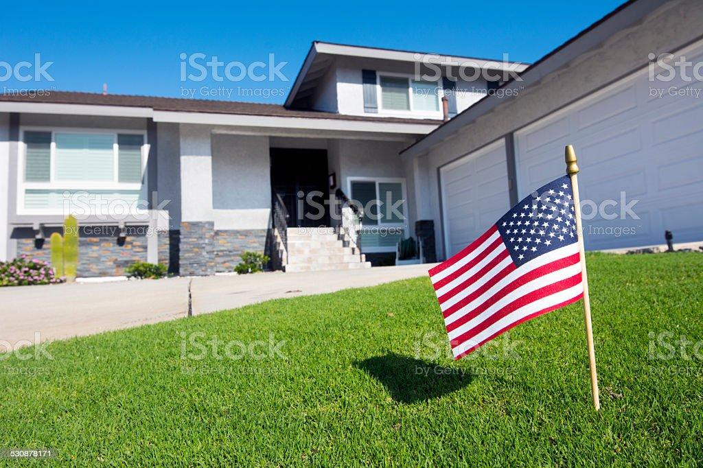 Flag in yard stock photo
