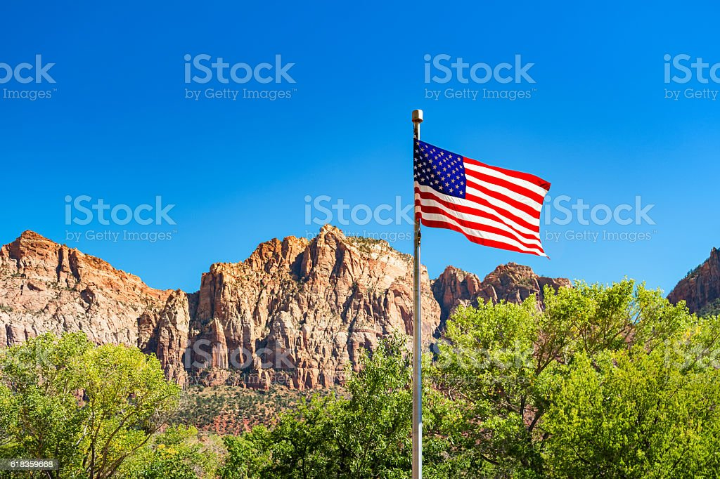US Flag in Zion National Park Utah USA stock photo