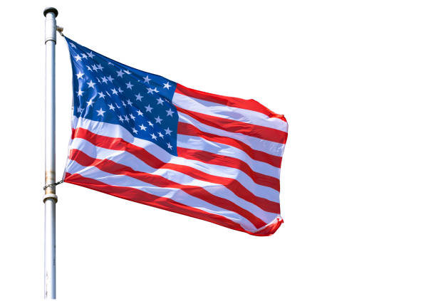 USA Flag isolated on white Background a high resolution Picture for Designers Ideas USA Flag isolated on white Background a high resolution Picture for Designers Ideas flagpole stock pictures, royalty-free photos & images