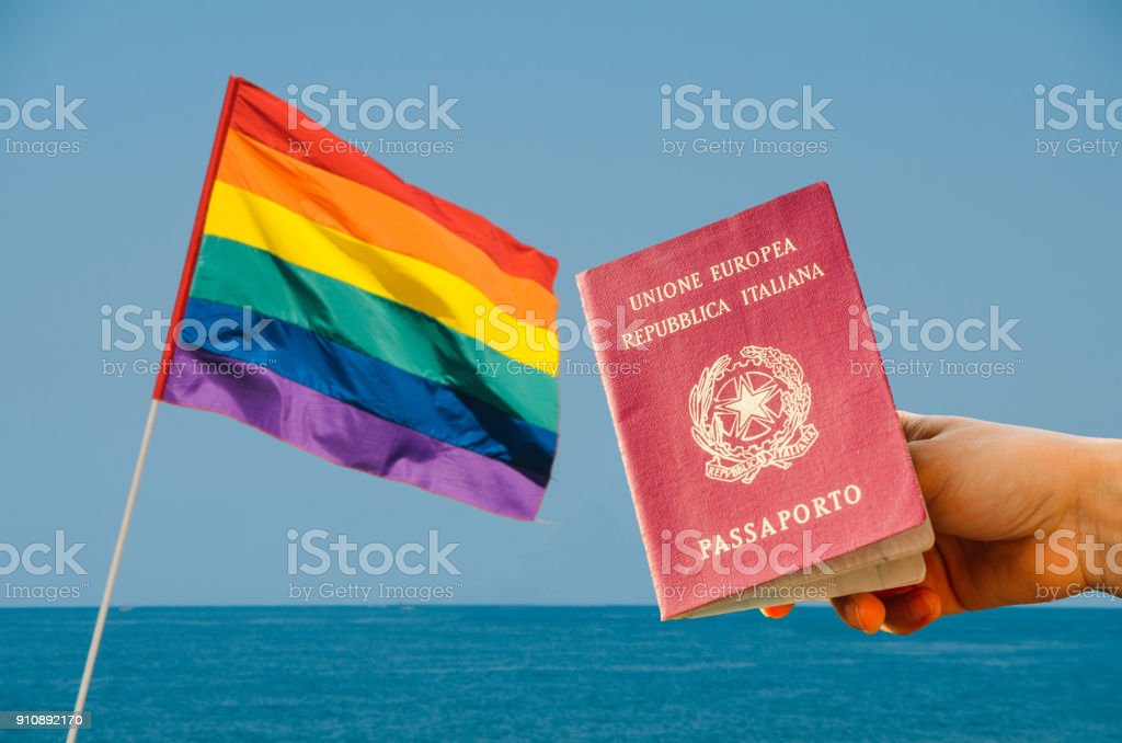 LGBT flag isolated overlooking the ocean stock photo