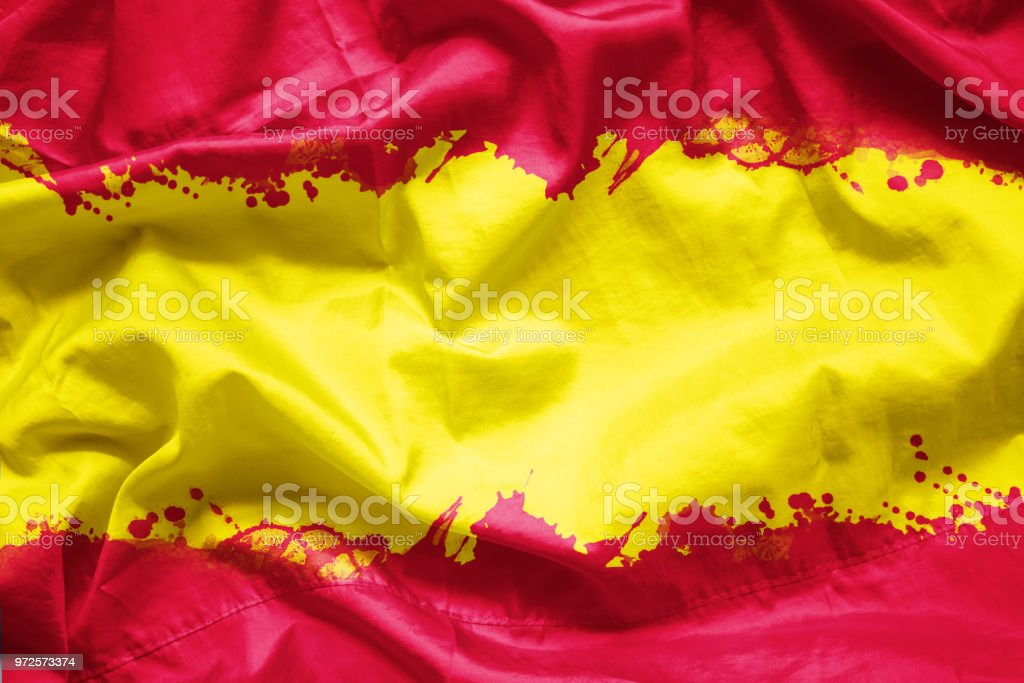 Flag Kingdom of Spain by watercolor paint brush on canvas fabric, grunge style stock photo