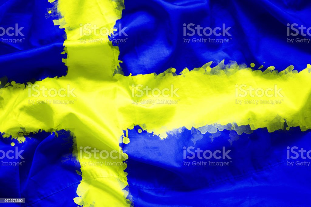 Flag Kingdom of Sweden by watercolor paint brush on canvas fabric, grunge style stock photo