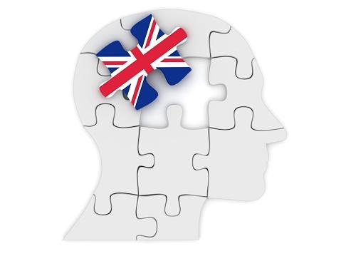 UK flag learn English language head puzzle silhouette mind brain memory