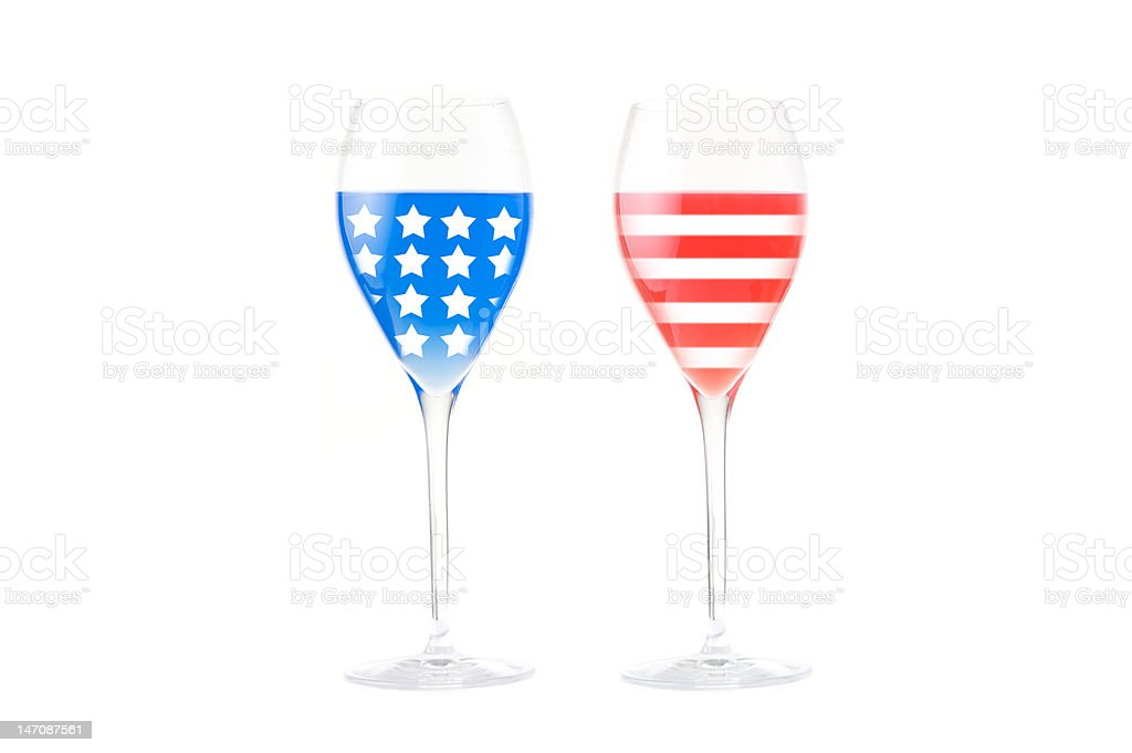 USA flag made with glasses stock photo