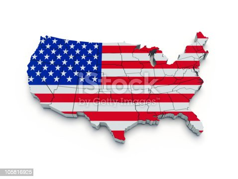 520945644 istock photo USA flag map. 3d 105816925