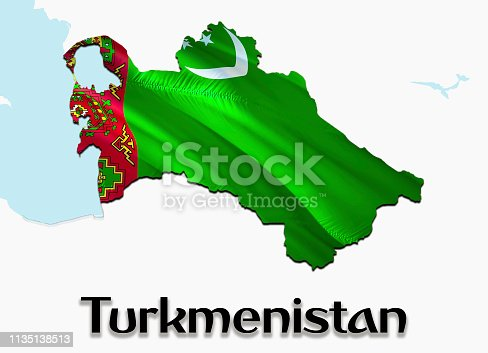 istock Flag Map of Turkmenistan. 3D rendering Turkmenistan map and flag on Asia map. The national symbol of Turkmenistan. Ashgabat flag map background image download HD.Turkmenistan National waving flag