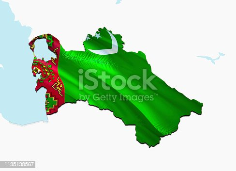 istock Flag Map of Turkmenistan. 3D rendering Turkmenistan map and flag on Asia map. The national symbol of Turkmenistan. Ashgabat flag on Asia background. National Turkmenistan flag on Asia