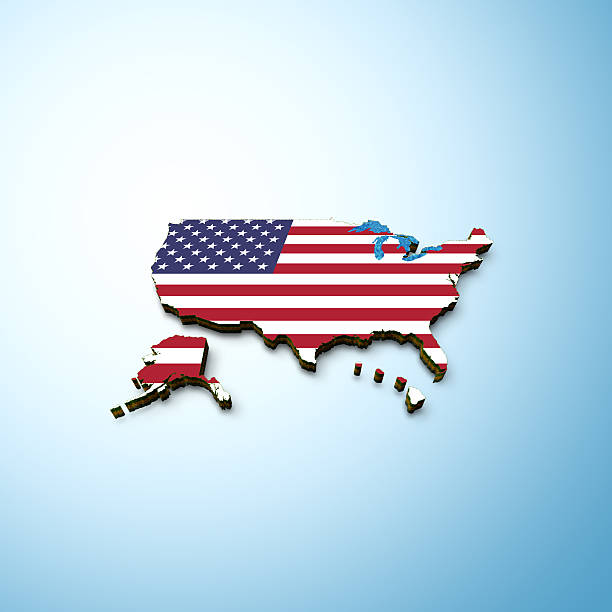 usa flag map - alaska us state stock photos and pictures