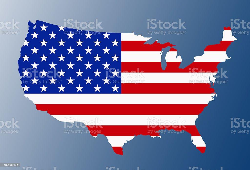 USA flag map stock photo