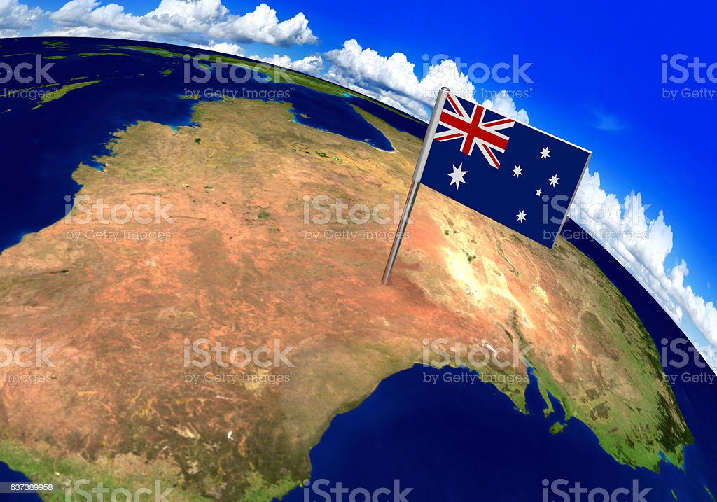 Flag marker over country of Australia on world map stock photo