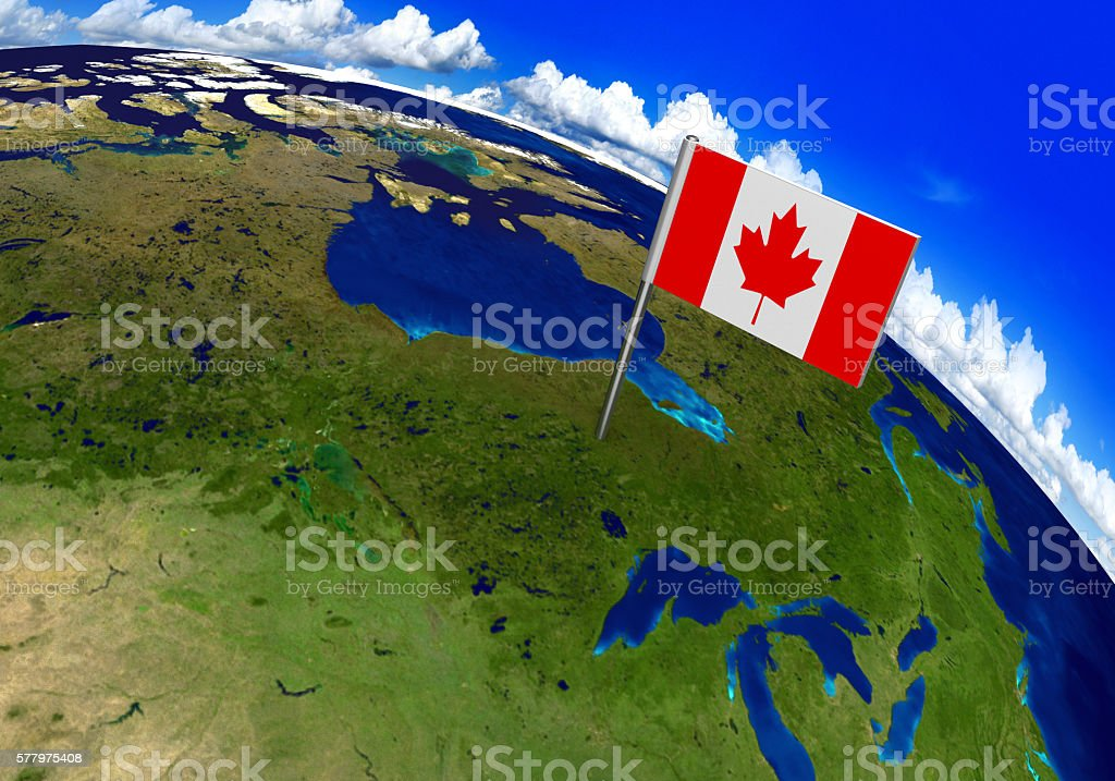 Country Of Canada Map.Flag Marker Over Country Of Canada On World Map Stock Photo