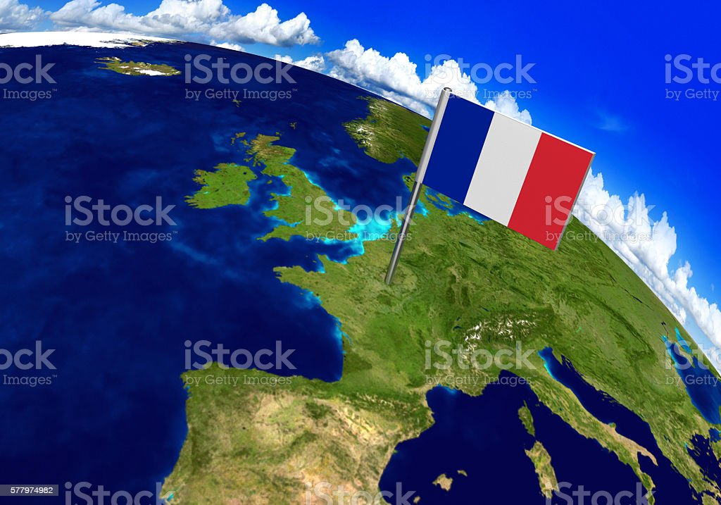 Flag Marker Over Country Of France On World Map Stockfoto ...