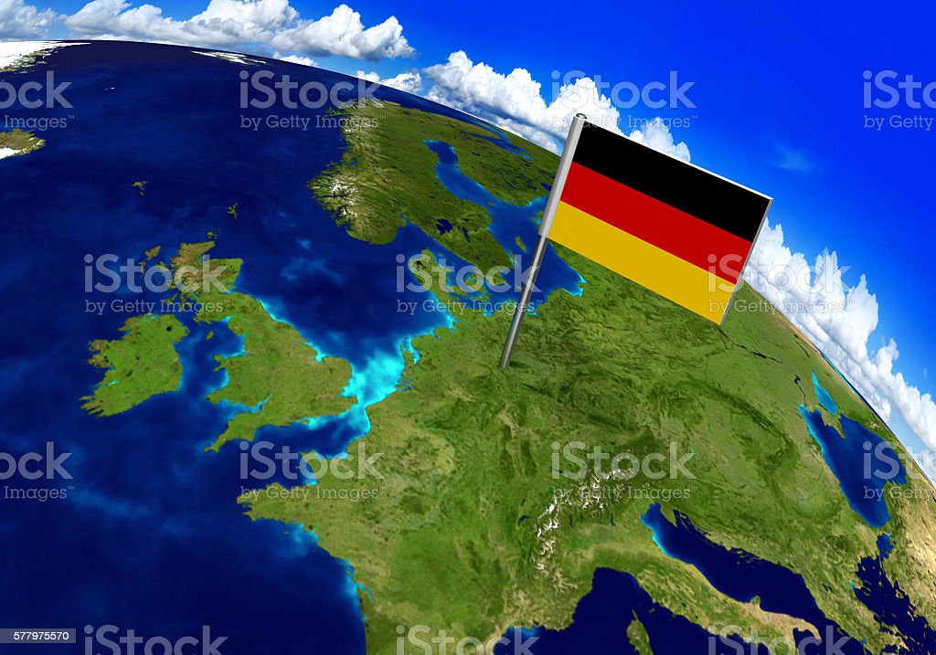 Flag Marker Over Country Of Germany On World Map Stockfoto ...