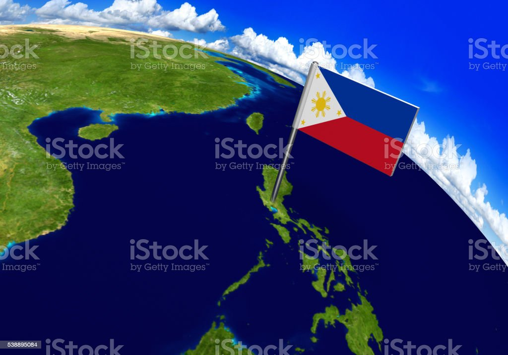 Flag marker over country of Philippines on world map stock photo