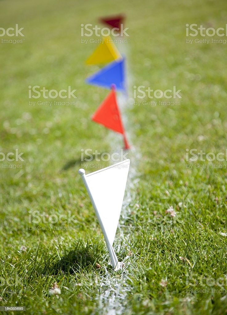 Flag markers on sports field stock photo