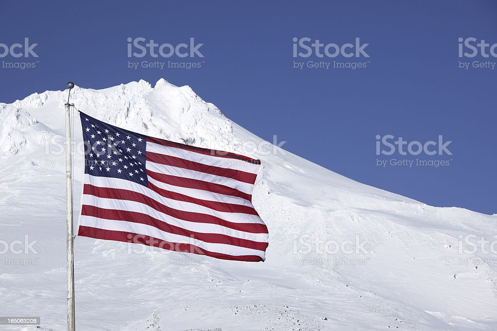 US Flag Mt Hood Oregon. stock photo