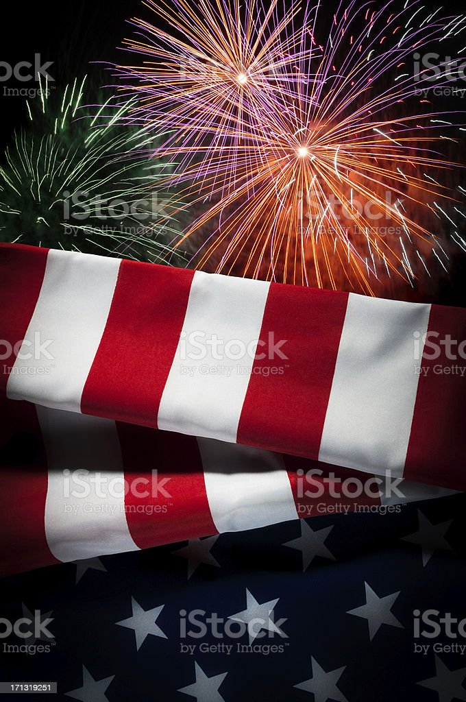 USA flag, New Year, Independence Day, celebration, patriotism, fireworks stock photo