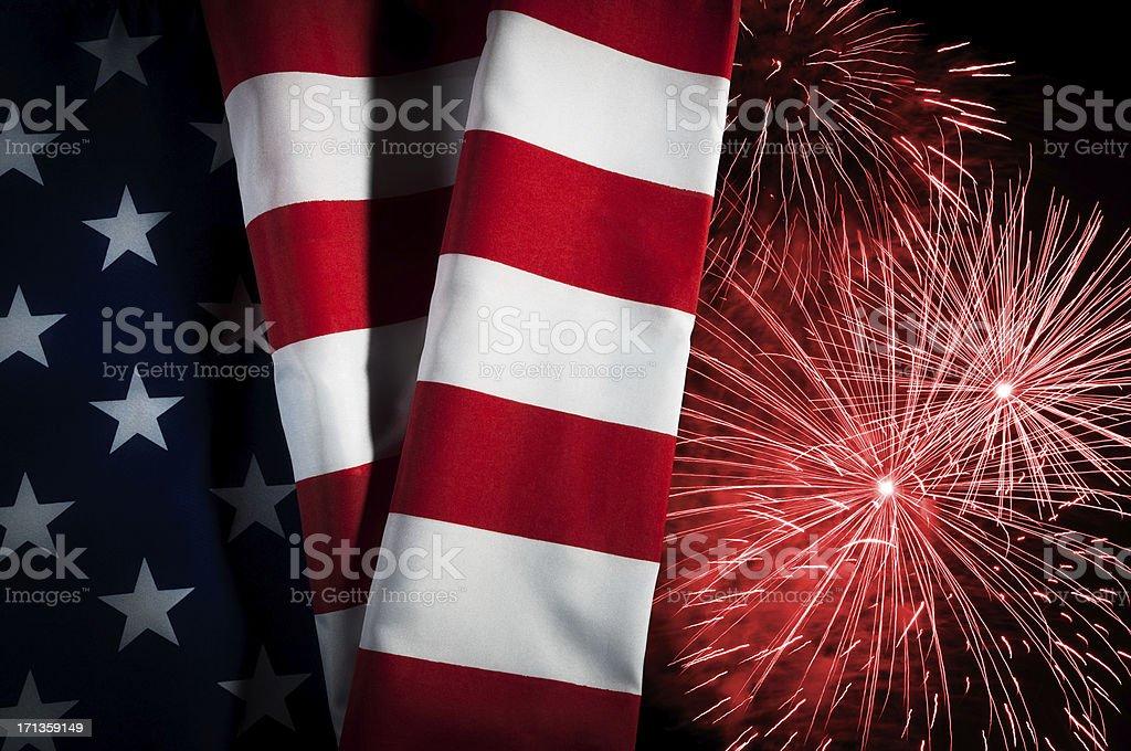 USA flag, New Year, Independence Day, celebration, patriotism, fireworks royalty-free stock photo