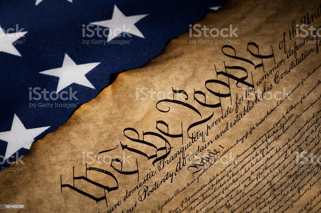 USA flag next to the Bill of Rights royalty-free stock photo