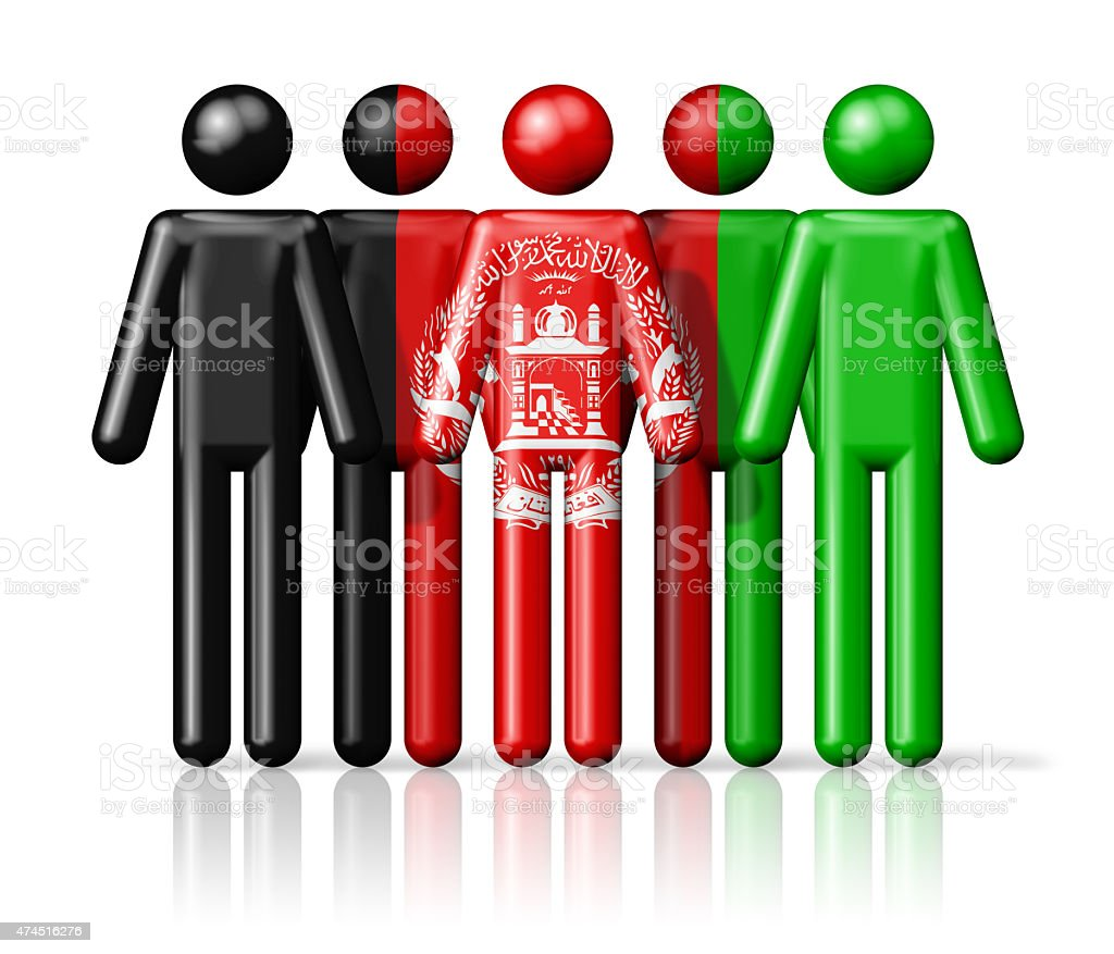 Flag of Afghanistan on stick figure stock photo