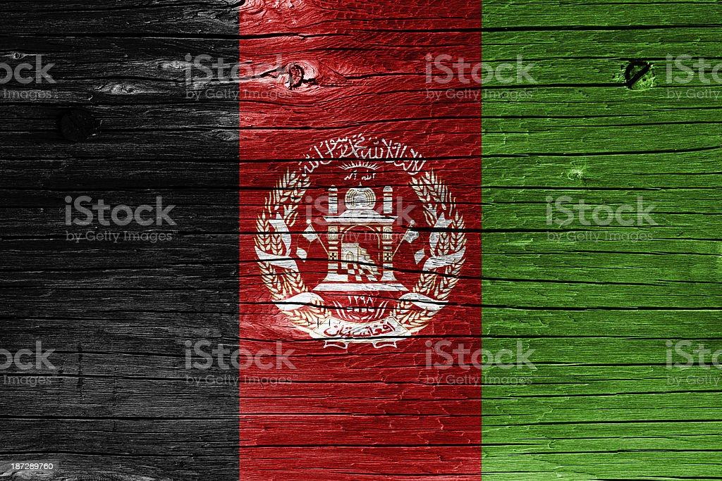 Flag of Afghanistan on Wood stock photo