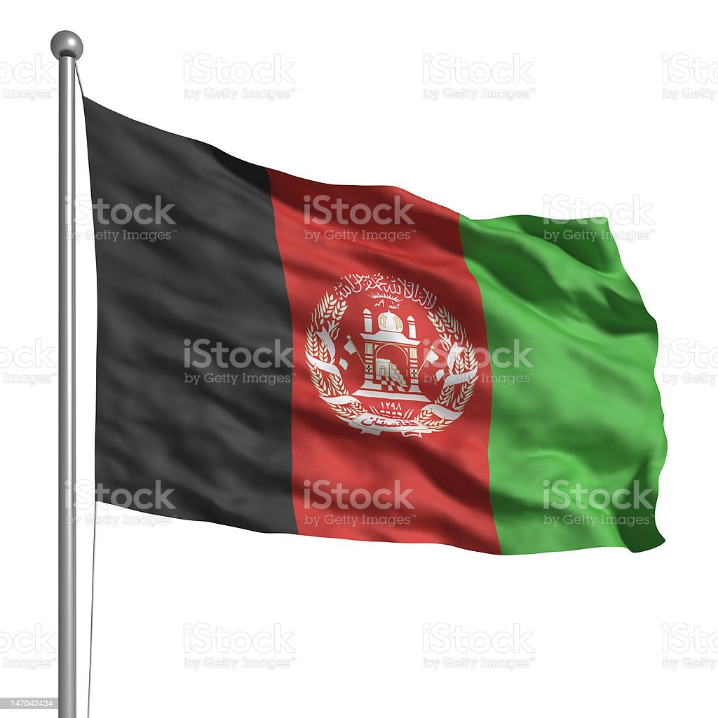 Flag of Afghanistan (Isolated) stock photo