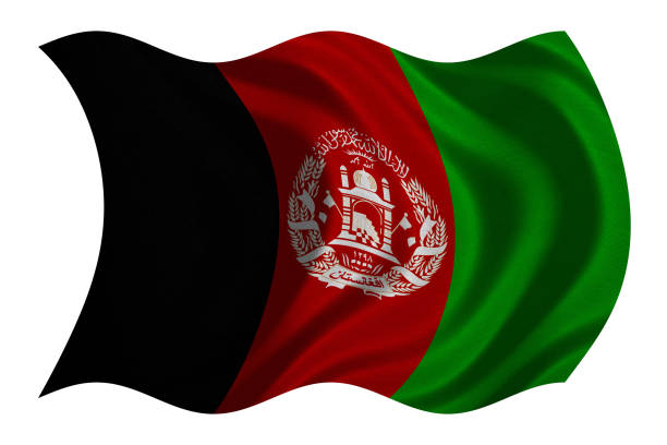 Flag of Afghanistan wavy on white, fabric texture stock photo