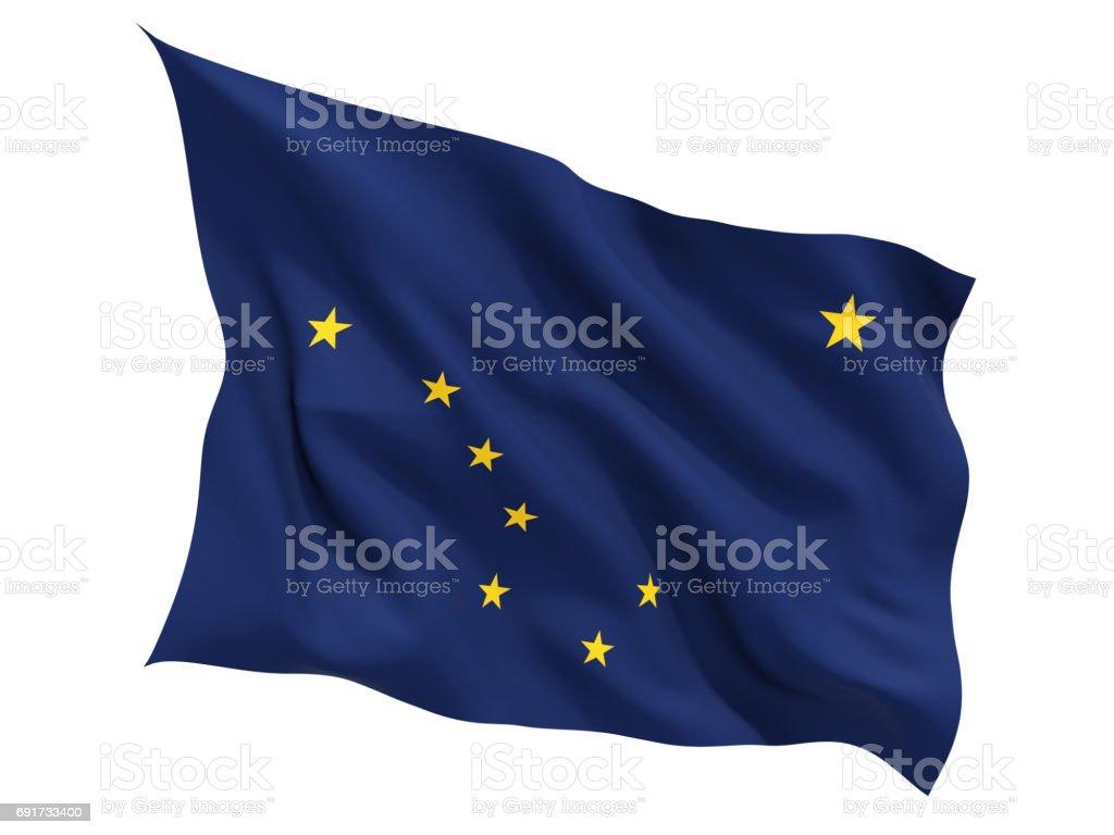 Bandeira do Alasca, estado dos Estados Unidos tremulando bandeira - foto de acervo
