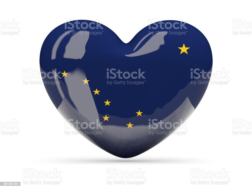 Bandeira do Alasca, o ícone de coração de estado dos EUA - foto de acervo