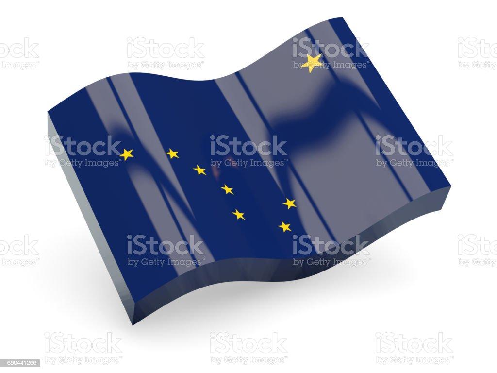 Bandeira do Alasca, ícone de onda de estado dos EUA - foto de acervo