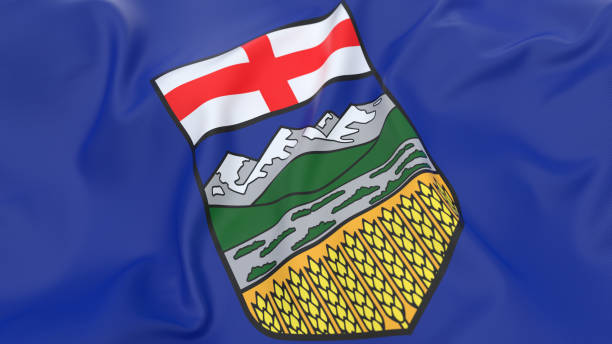 Flag of Alberta - Canada Top view of flag of Alberta alberta stock pictures, royalty-free photos & images