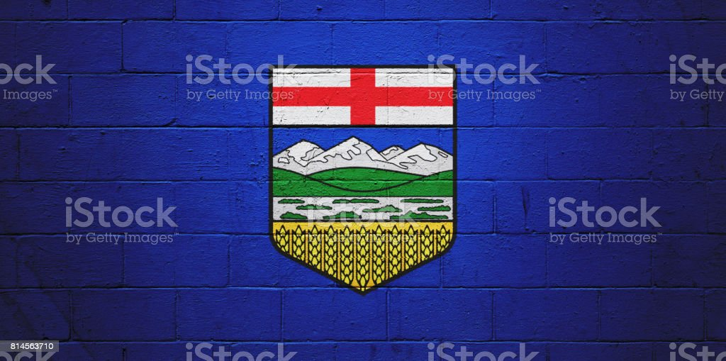 Flag of Alberta painted on a wall stock photo