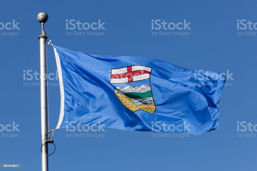 Flag of Alberta province in Canada stock photo