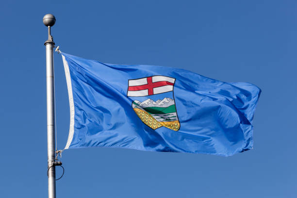 Flag of Alberta province in Canada National flag of the Alberta province in Canada alberta stock pictures, royalty-free photos & images