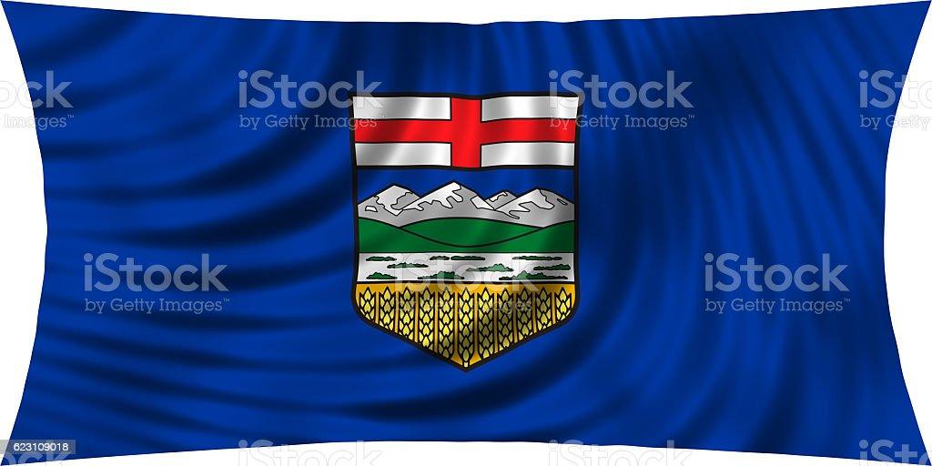 Flag of Alberta waving isolated on white stock photo
