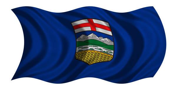 Flag of Alberta wavy on white, fabric texture stock photo