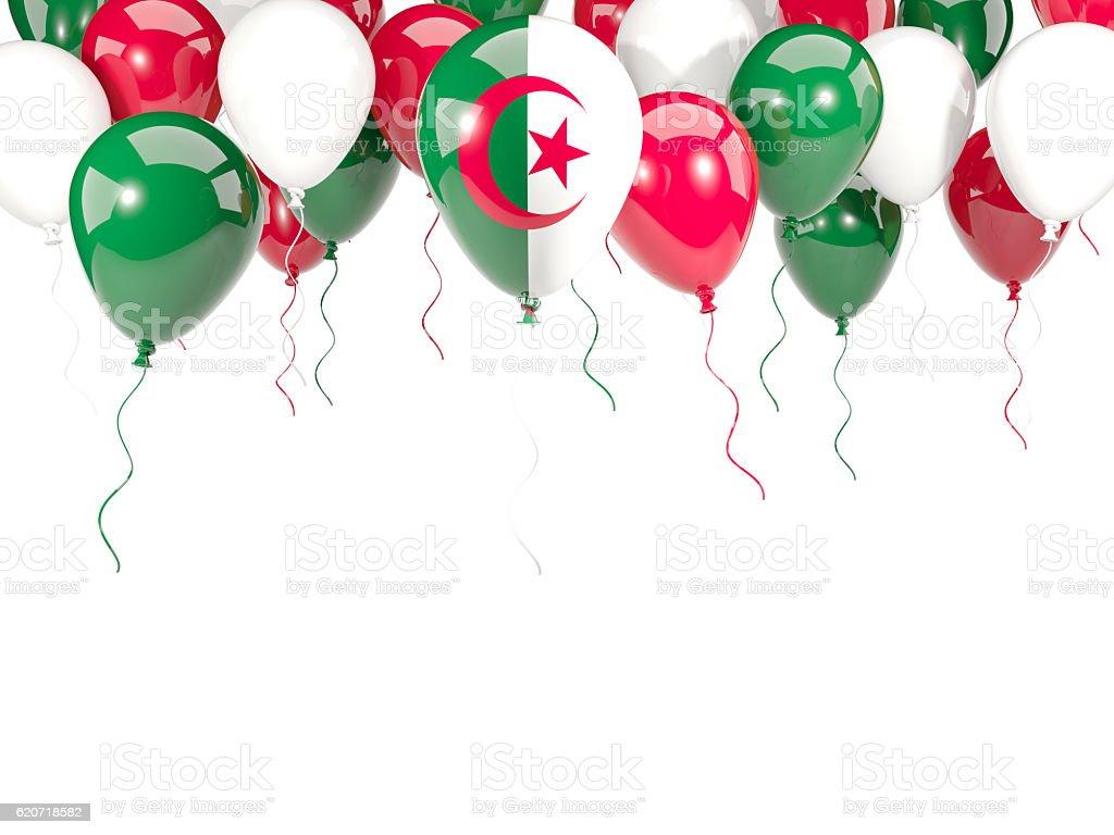 Flag of algeria on balloons - foto de stock