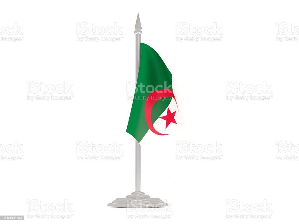 Photo Libre De Droit De Drapeau Algérien Avec Mât De Drapeau