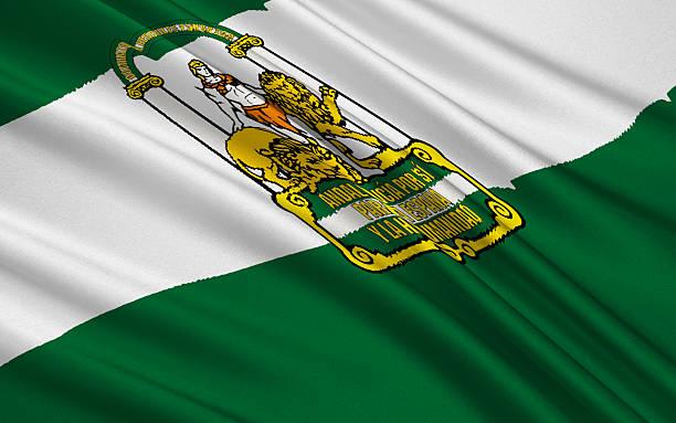 bandera de andalucía, españa - andalusian flag fotografías e imágenes de stock