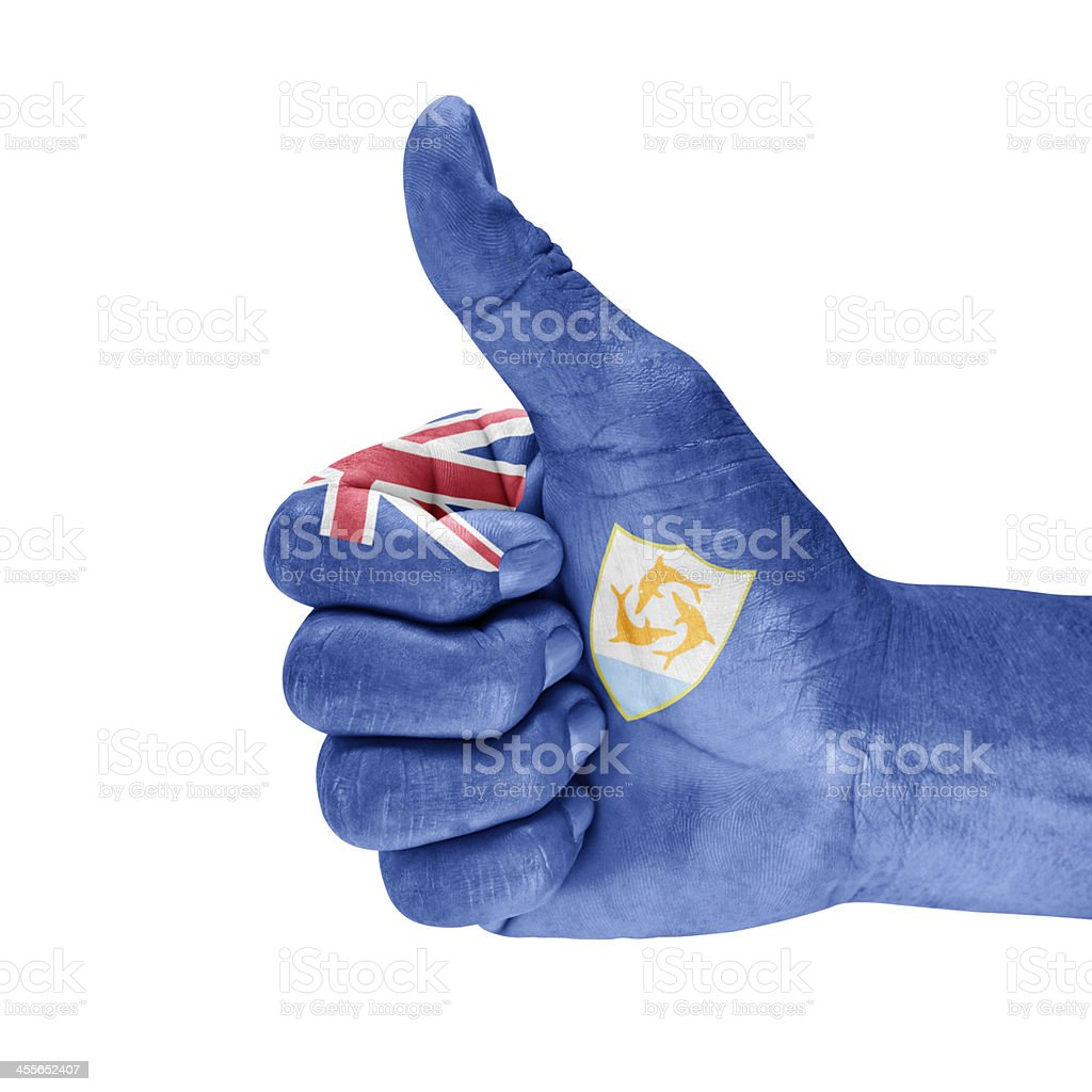 Flag Of Anguilla On Thumb Up Hand stock photo