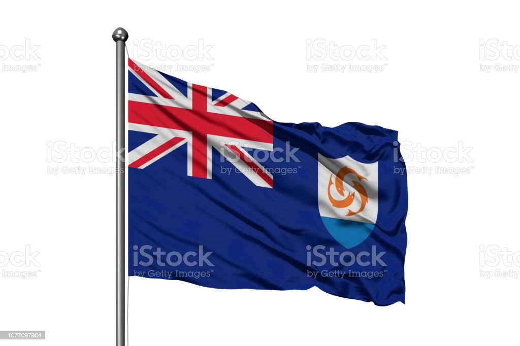Flag of Anguilla waving in the wind, isolated white background. stock photo